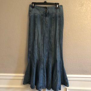 Maxi Fit & Flare Denim Skirt
